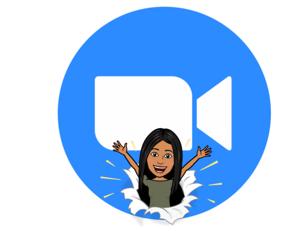 Zoom icon of blue circle with white video camera icon in middle.  Ms. Gonzales's bitmoji is on bottom center of Zoom icon.