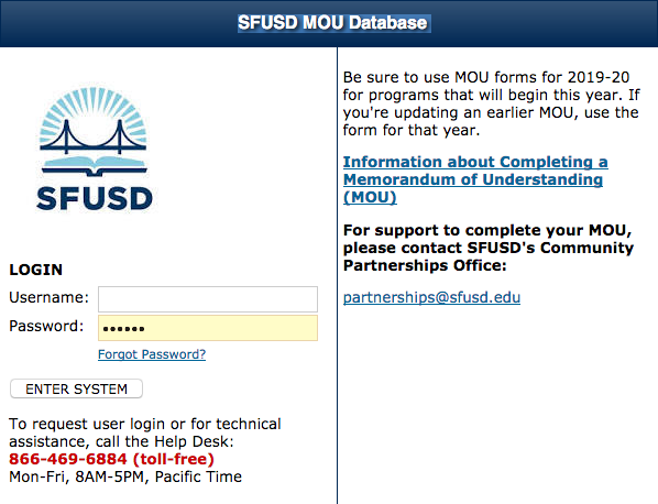 Image of MOU system login page