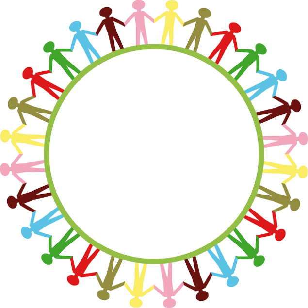 a group of people forming a circle