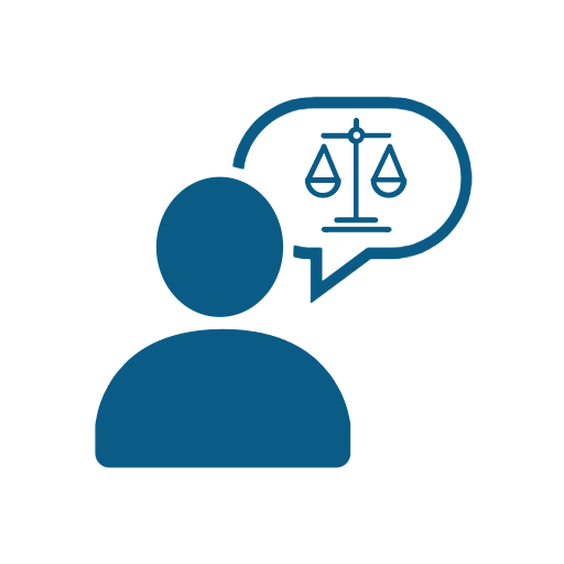 Icon of person with legal scales in a speech bubble