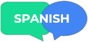 "speech bubble with the word ""Spanish"""