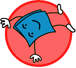 blue cartoon book tumbling on red background