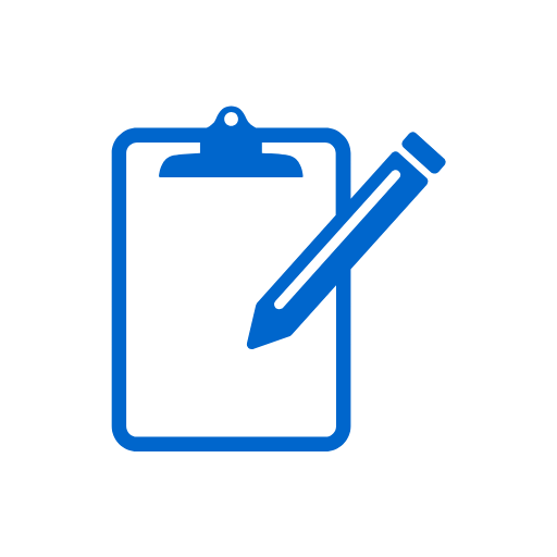 icon of blue clipboard and pencil